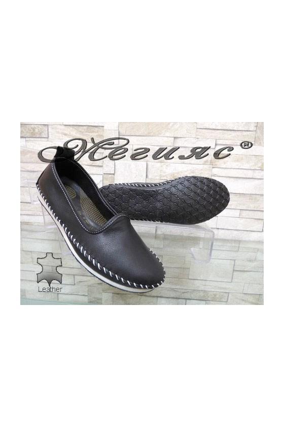 801 Дамски обувки черни от естествена кожа
