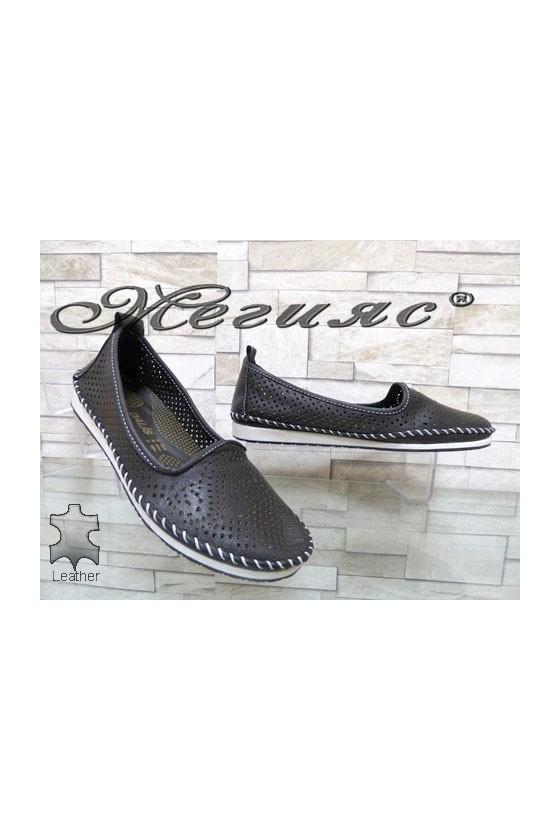 808 Дамски обувки бежови от естествена кожа