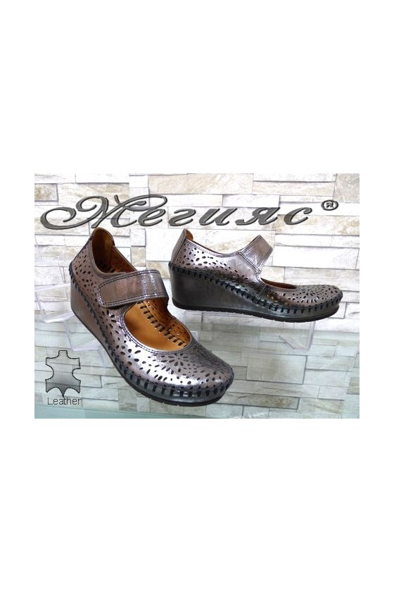 410-23 Lady shoes dark silver leather