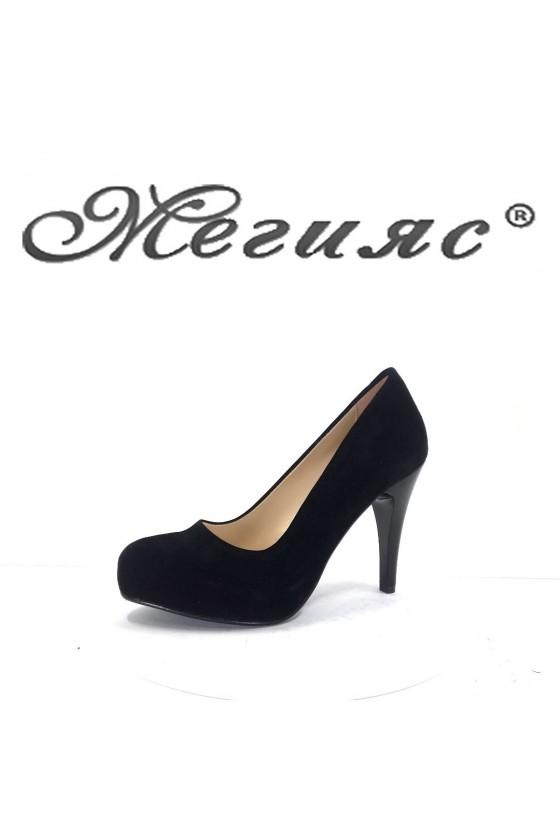 15-K Дамски обувки черен велур с висок ток
