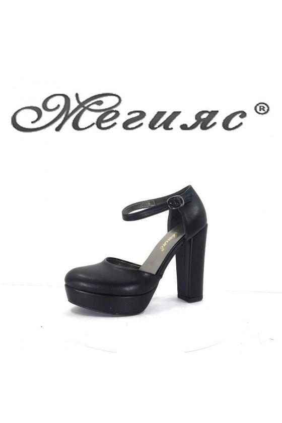573 Дамски сандали черна еко кожа  с широк ток