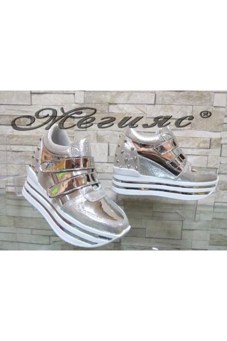 2288 Lady platform shoes silver pu