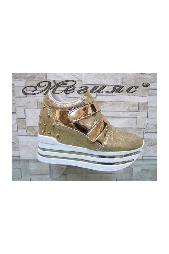 2288 Lady platform shoes gold pu
