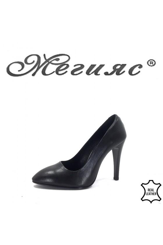 80-1 Дамски обувки черни елегантни от естествена кожа