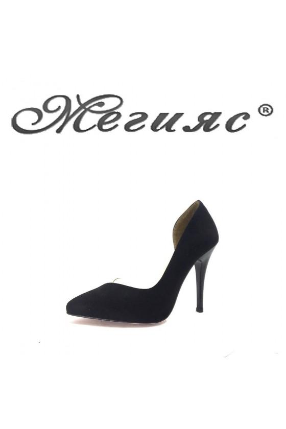 3355 Дамски обувки черен велур на висок ток