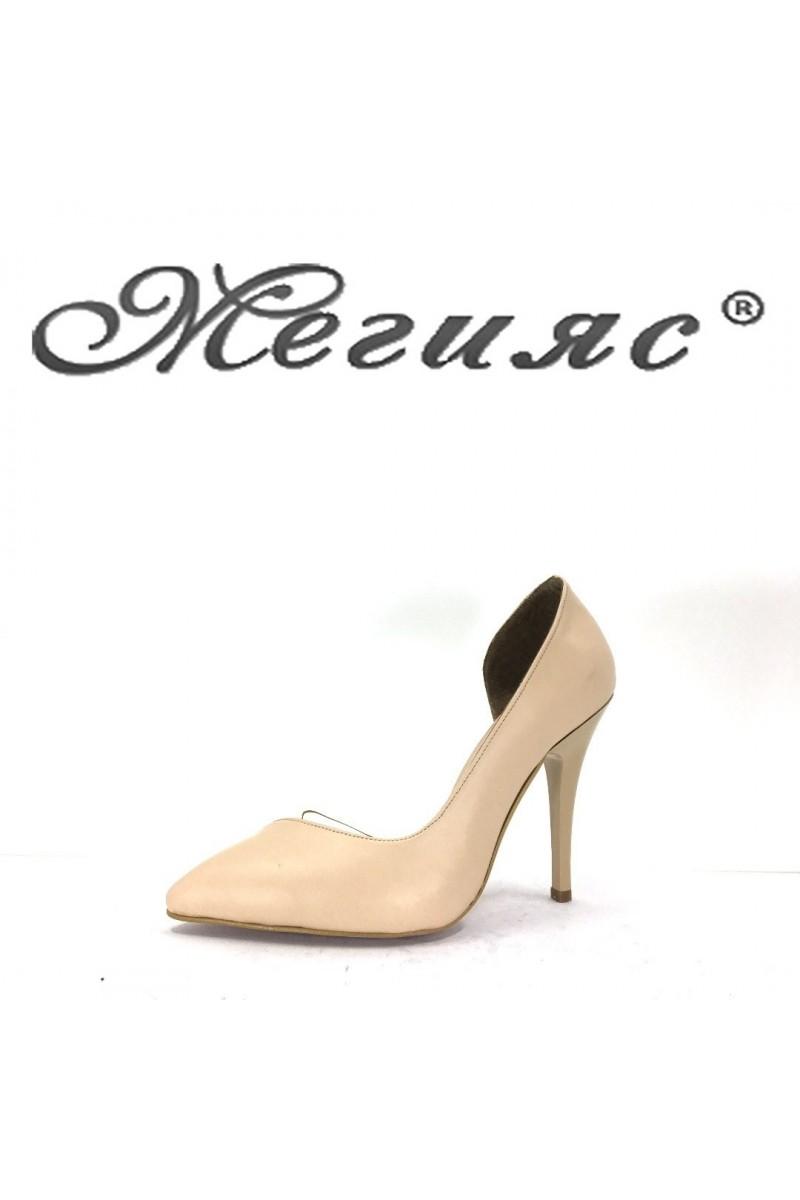 3355 Дамски обувки бежова кожа на висок ток