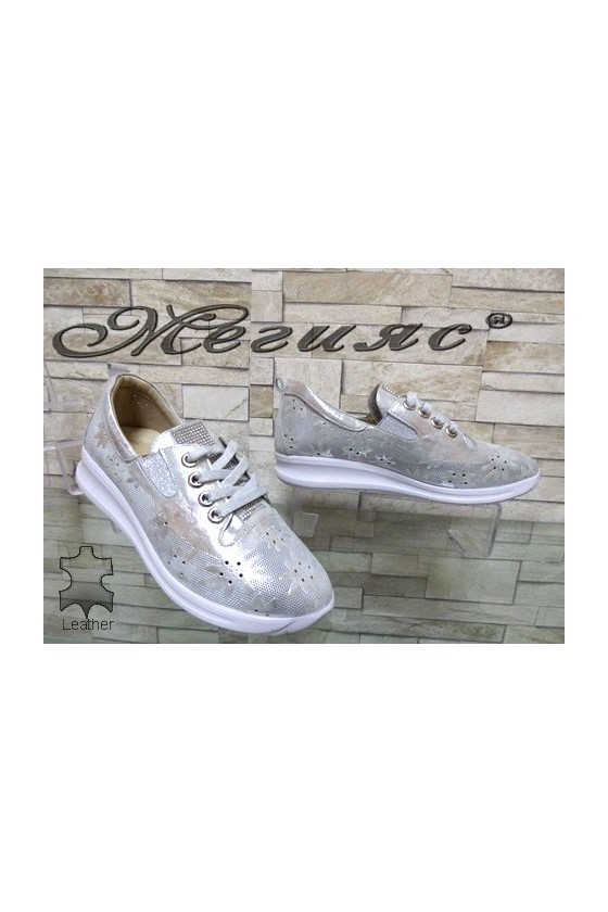 9914 Lady sport shoes silver leather