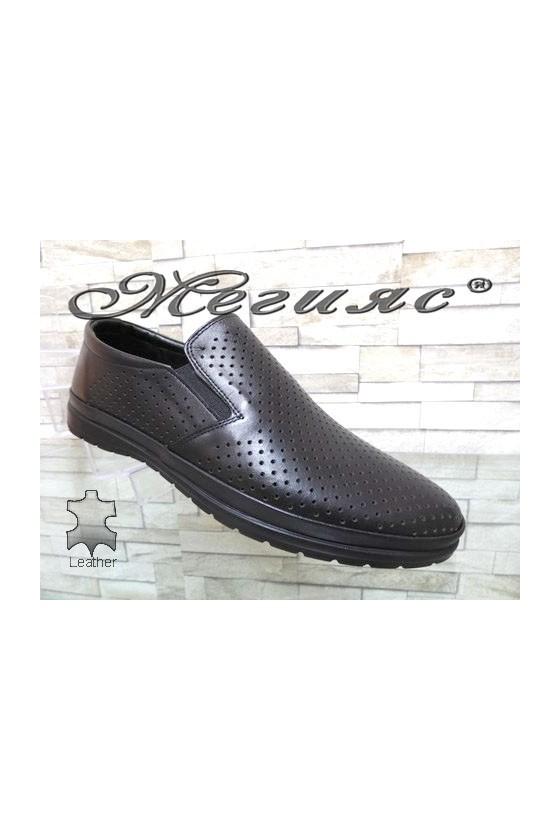 1502-8 Мъжки обувки черни с перфорация от естествена кожа