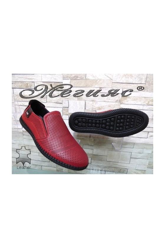 291-87-80 Мъжки обувки Фантазия червени с перфорация от естествена кожа