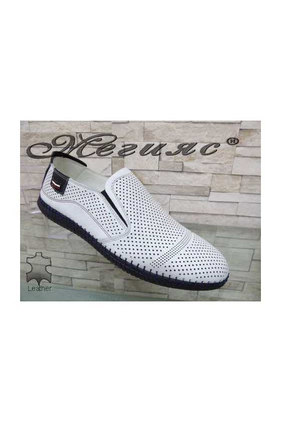 291-86-81 Men's shoes white leather