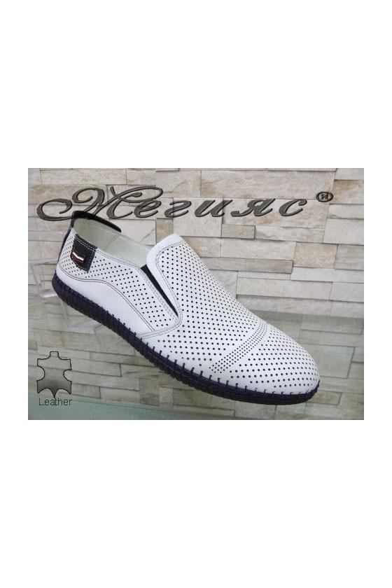 291-86-81 Мъжки обувки Фантазия бели с перфорация от естествена кожа