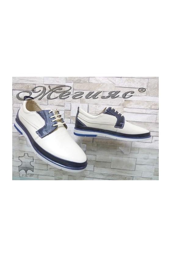278-010-011 Мъжки обувки Фантазия бежово и синьо от естествена кожа