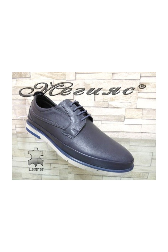 278-011 Мъжки обувки Фантазия сини гладка  естествена кожа