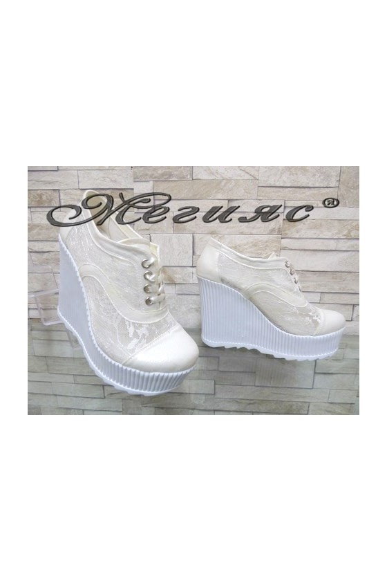 103/107 Lady platform shoes white pu