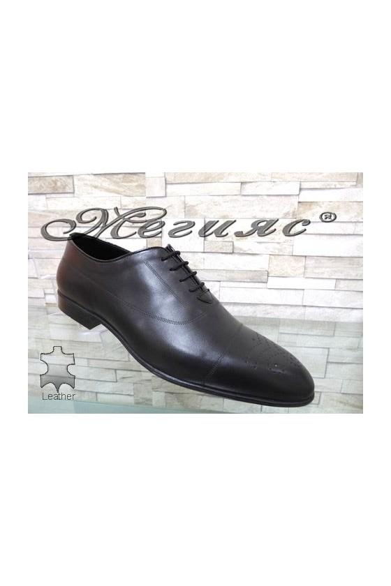 1007 Men's elegant shoes black leather
