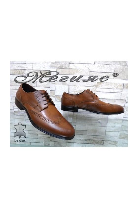 Мъжки обувки елегантни от естествена кожа таба