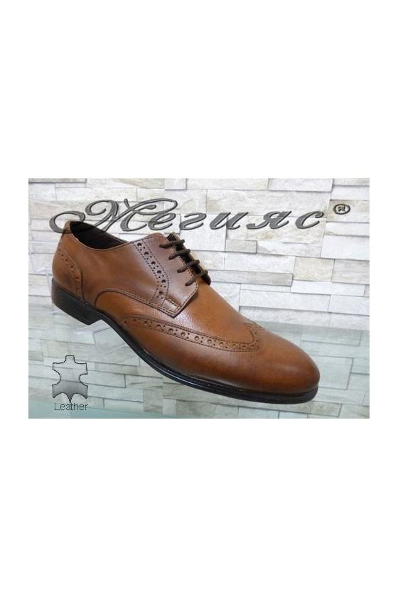 1203 Мъжки обувки Фантазия цвят таба от естествена кожа елегантни