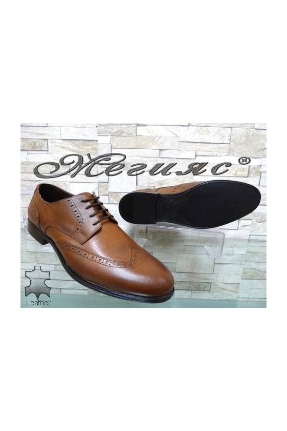 1203 Men's elegant shoes brown leather