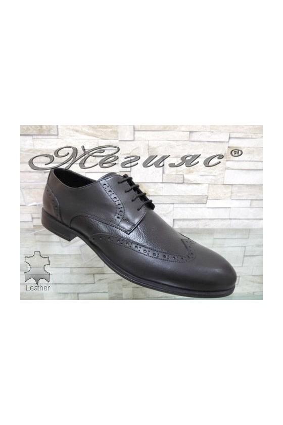 1203 Men's elegant shoes black leather