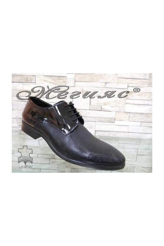 1100-168 Men's elegant shoes black patent