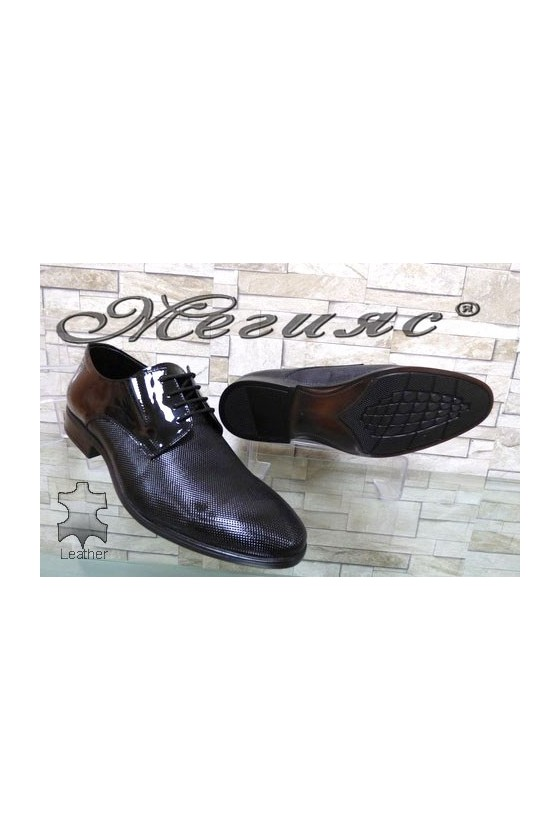 1100-168 Мъжки обувки Фантазия черни от естествен лак елегантни