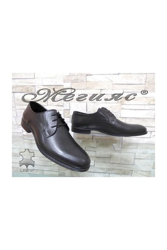 1200 Men's elegant shoes black leather