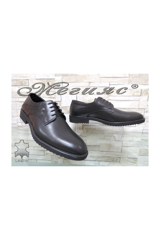 14302 Men's elegant shoes black leather
