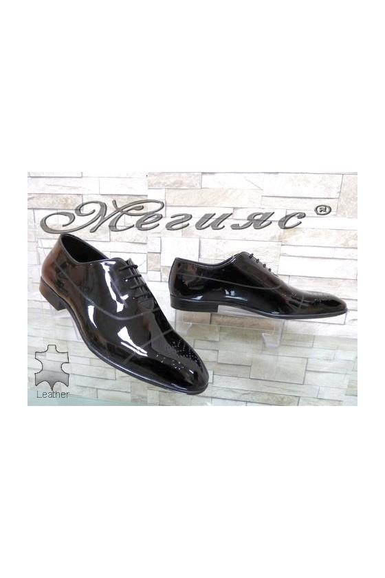 Мъжки обувки черни от естествен лак елегантни