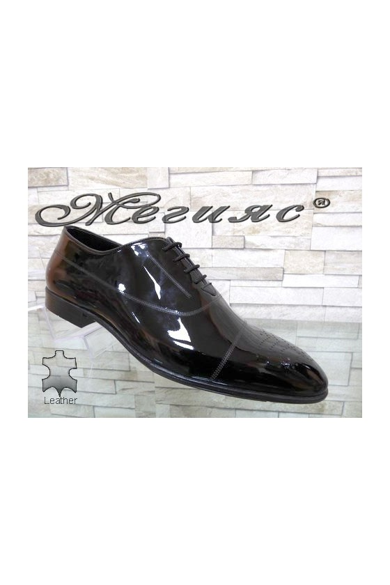 1007 Men's elegant shoes black patent