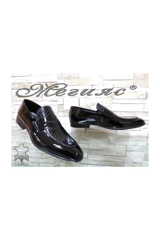 1006 Мъжки обувки Фантазия черни от естествен лак  с кроко шарка елегантни