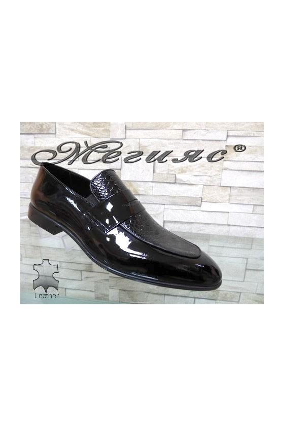 1006 Men's elegant shoes black snake patent
