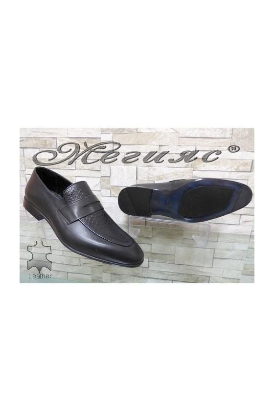 1006 Men's elegant shoes black leather