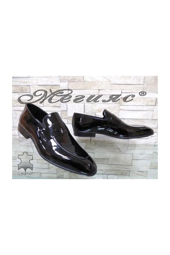 1006 Мъжки обувки Фантазия черни от естествен лак елегантни