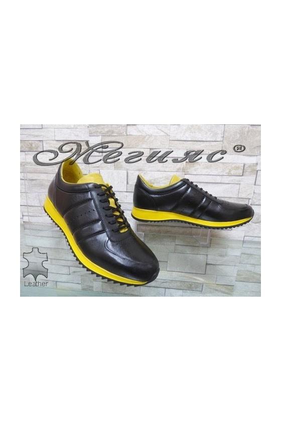 1871 Мъжки спортни обувки черно и жълто от естествена кожа