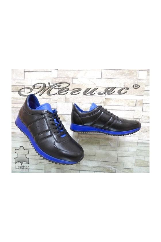 1871 Мъжки спортни обувки черно и синьо от естествена кожа
