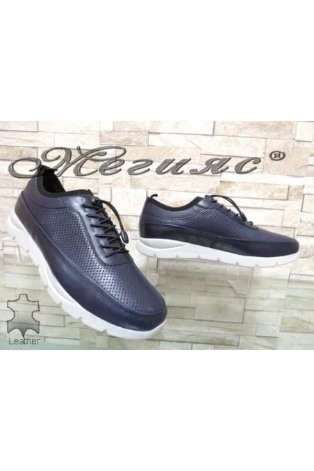 9044 Мъжки спортни обувки сини от естествена кожа