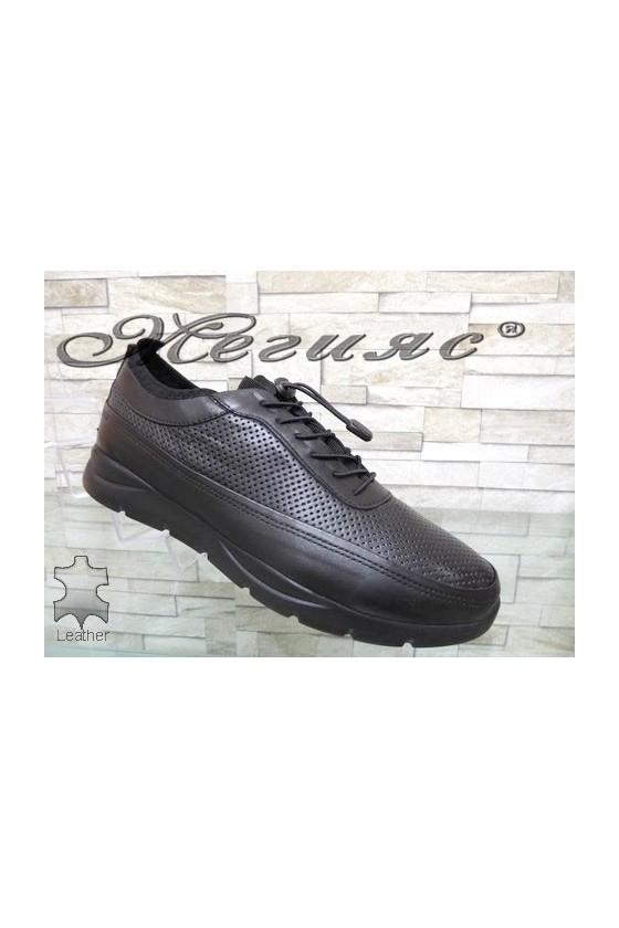 9044  Мъжки спортни обувки черни от естествена кожа