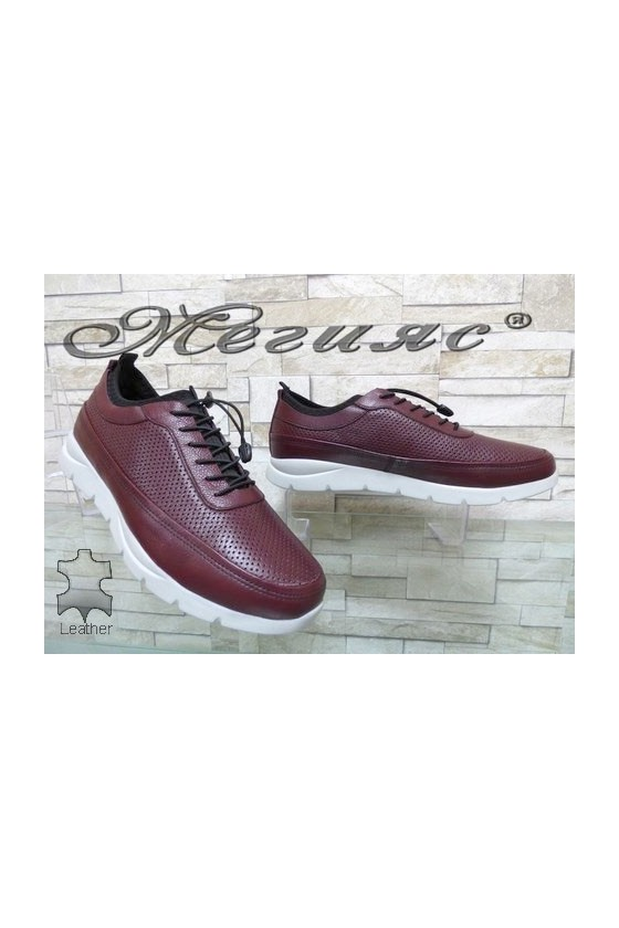 9044 Men's sport shoes wine leather