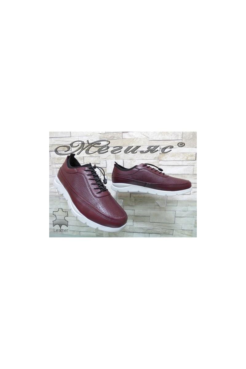 9044 Мъжки спортни обувки цвят бордо от естествена кожа