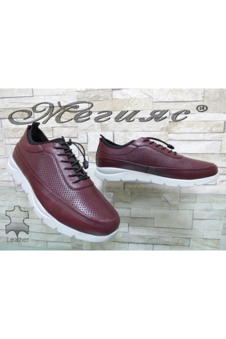 9044 Men's sport shoes wine leather