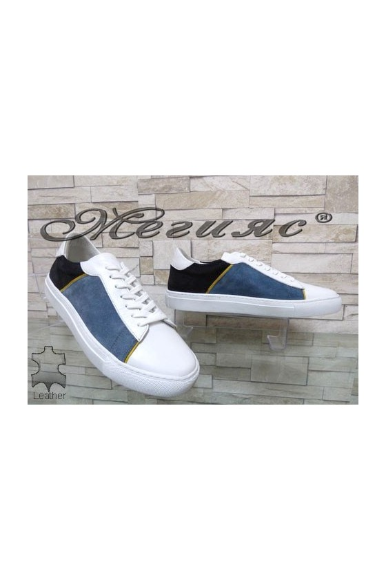4132 Men's sport shoes white leather