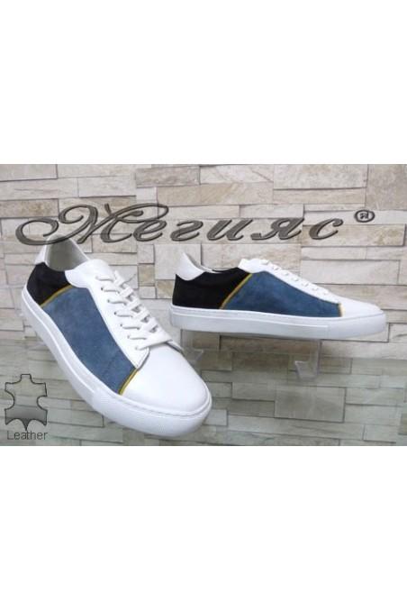 4132 Мъжки спортни обувки бели от естествен велур
