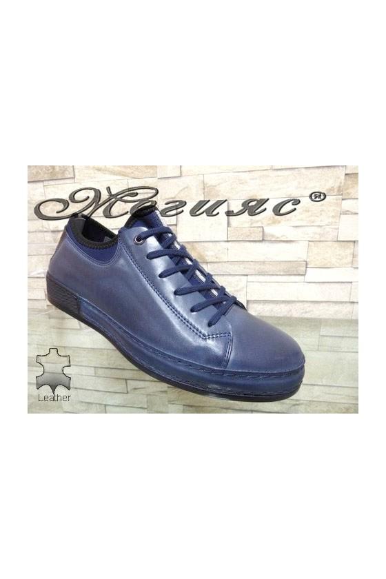 1919 Мъжки спортни обувки сини от естествена кожа