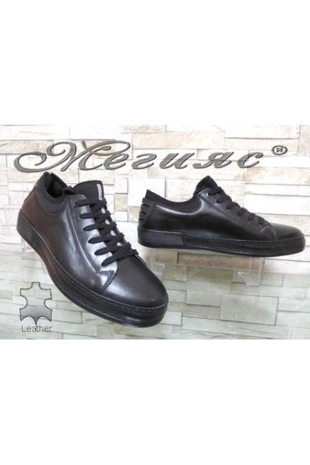 1919 Мъжки спортни обувки черни от естествена кожа