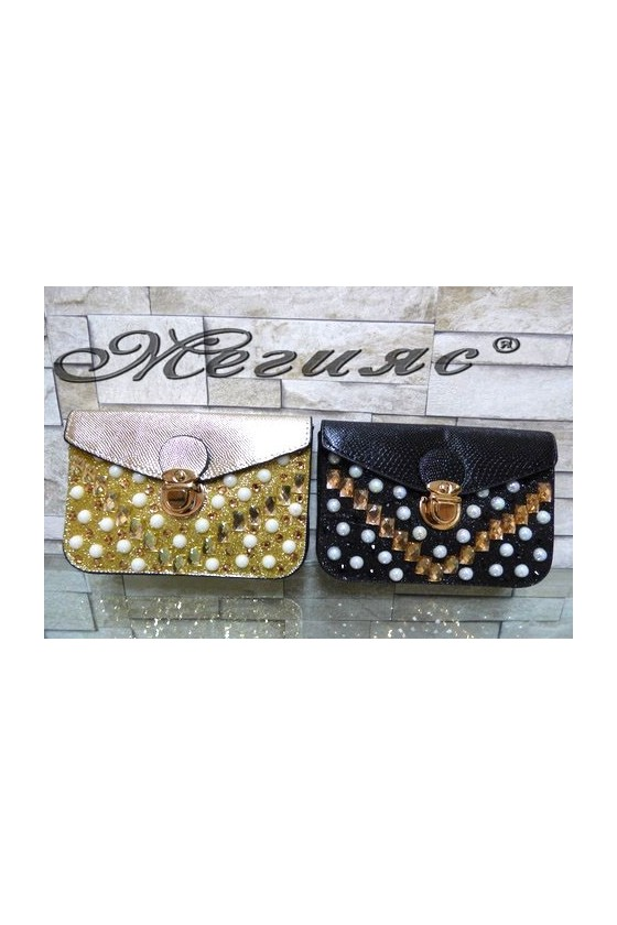 122/126 Lady purse gold/black pu