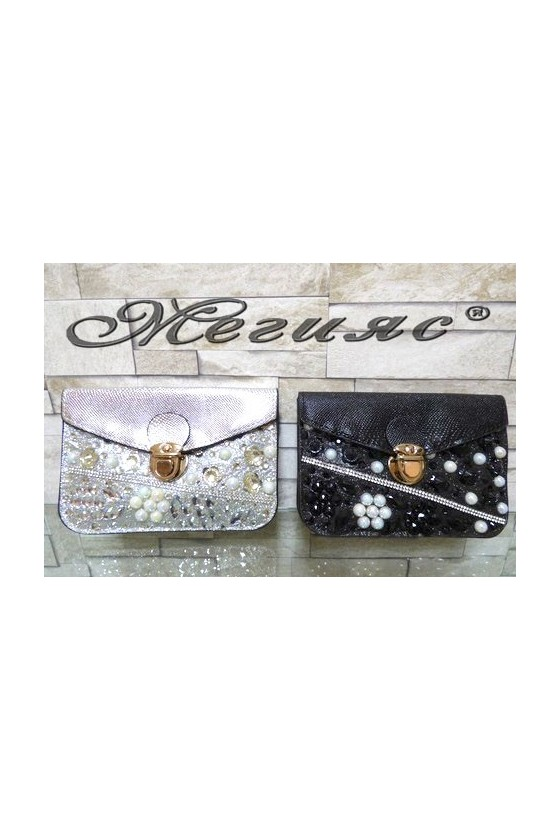 122/126 Lady purse black/silver pu