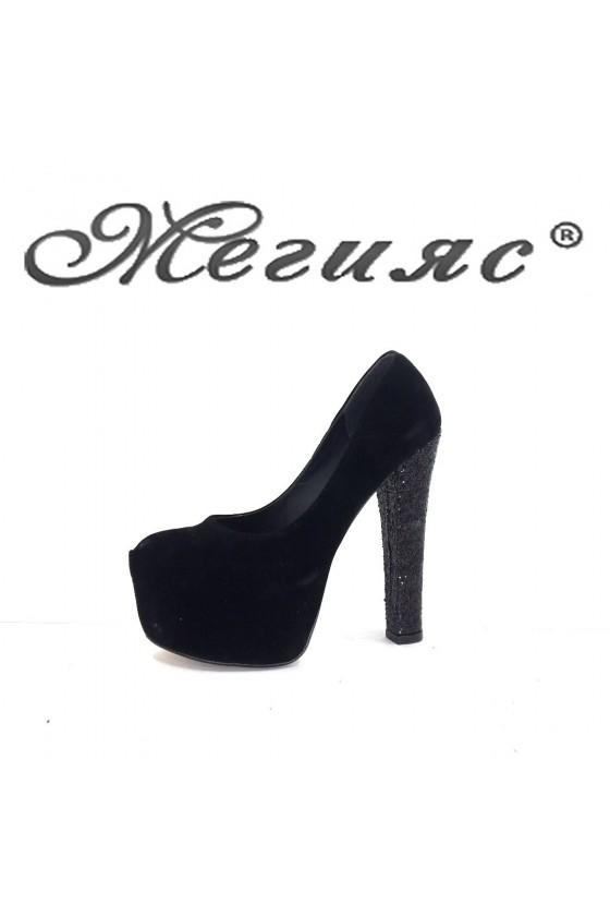 060-1  Дамски обувки черни елегантни на висок ток