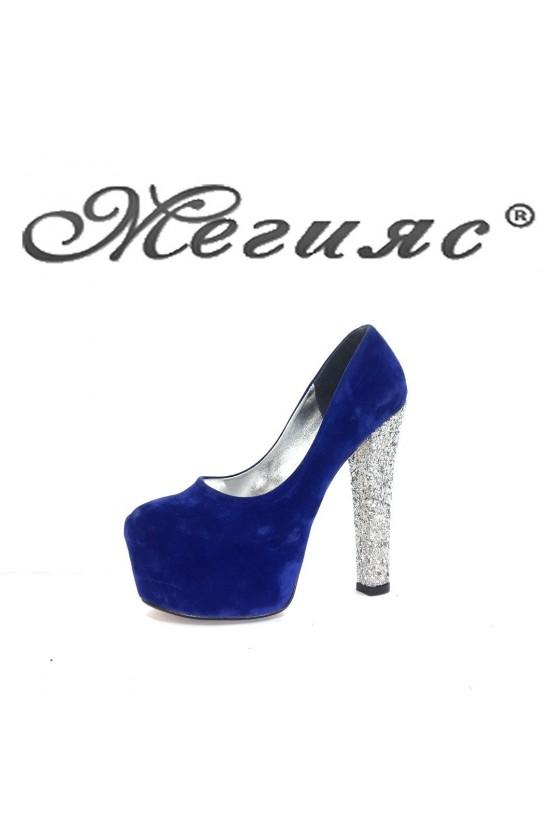 060-1 Дамски обувки сини  елегантни на висок ток