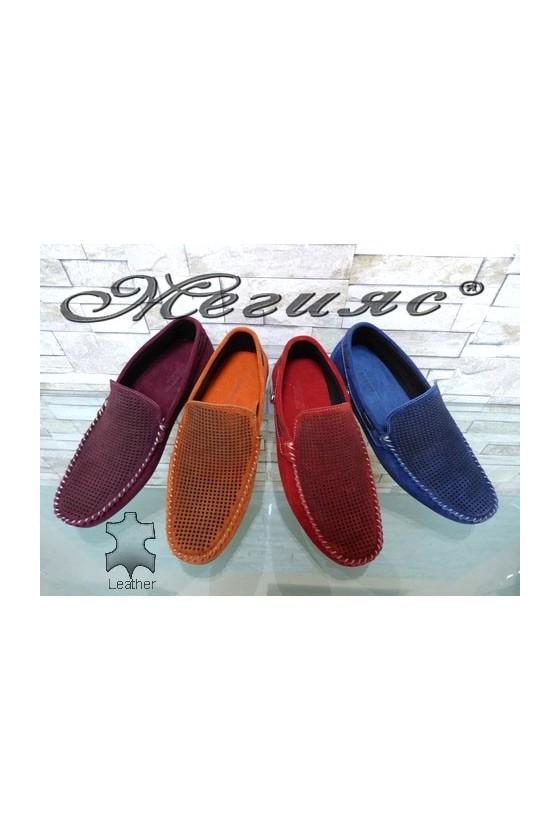 Мъжки обувки тип мокасини от естествен велур