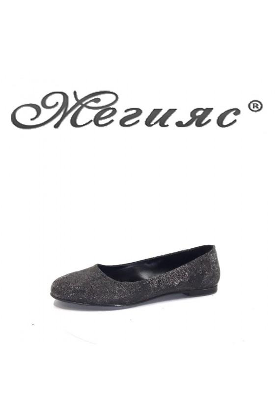 101 Дамски ежедневни обувки графит с брокат от еко кожа